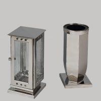 Nerezová lampa a váza