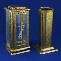 Nerezová lampa a váza starobronz